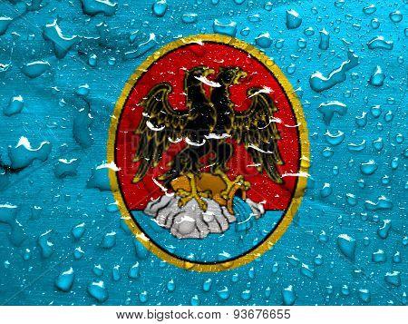 flag of Rijeka with rain drops