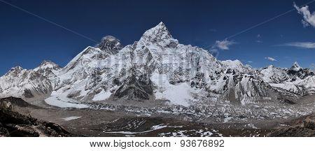 Nuptse, Mt Everest And Khumbu Glacier