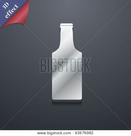 Bottle Icon Symbol. 3D Style. Trendy, Modern Design With Space For Your Text Vector