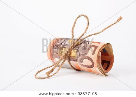 Roll Of Euros Money