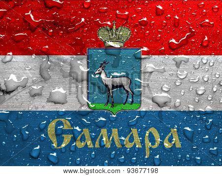 flag of Samara with rain drops