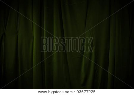 Curtain Or Drapes Dark Green Background