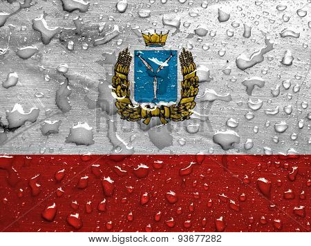 flag of Saratov Oblast with rain drops