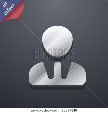 Male Silhouette Icon Symbol. 3D Style. Trendy, Modern Design With Space For Your Text Vector