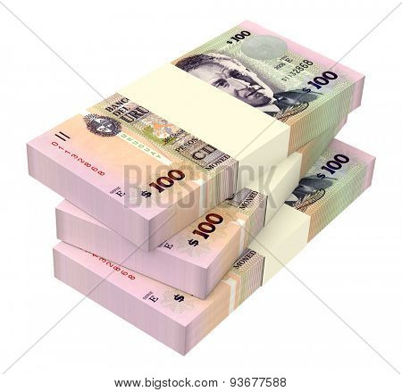 Uruguay peso isolated on white background. Computer generated 3D photo rendering.