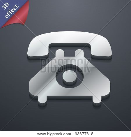 Retro Telephone Handset  Icon Symbol. 3D Style. Trendy, Modern Design With Space For Your Text Vecto