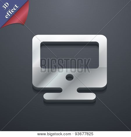 Monitor Icon Symbol. 3D Style. Trendy, Modern Design With Space For Your Text Vector