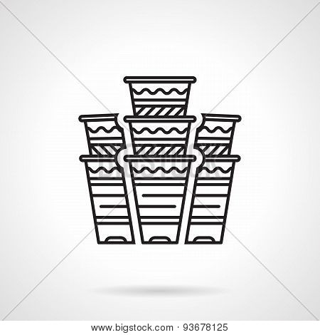 Flat line disposable cups vector icon