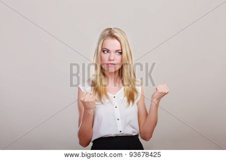 Angry Mad Woman Furious Girl Shaking Fist.