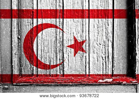 Flag Of Turkish Republic Of Northern Cyprus Painted On Wooden Frame