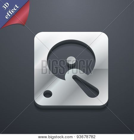 Hard Disk Icon Symbol. 3D Style. Trendy, Modern Design With Space For Your Text Vector