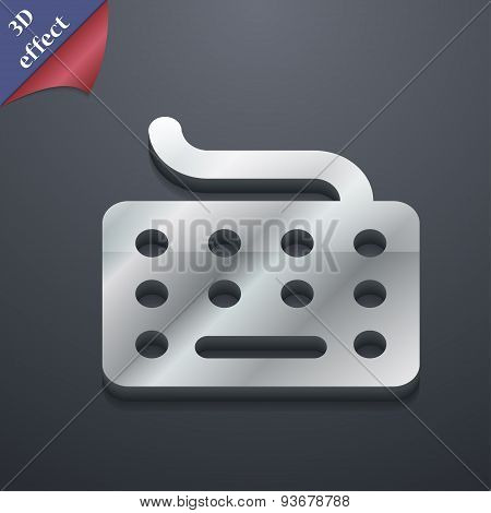 Keyboard Icon Symbol. 3D Style. Trendy, Modern Design With Space For Your Text Vector