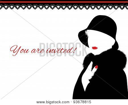 Woman in Fur Coat and red lips invitation.