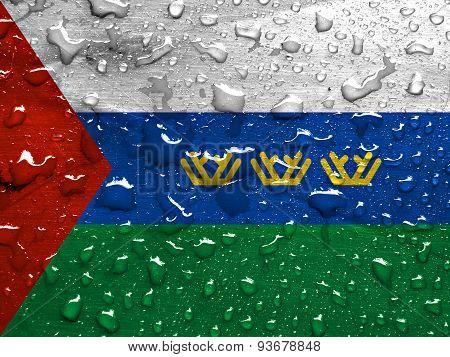flag of Tyumen Oblast with rain drops