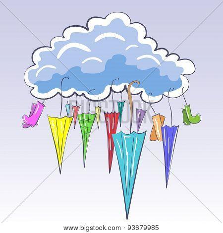 Cloud And Umbrellas