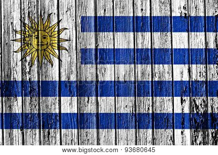 Flag Of Uruguay Painted On Wooden Frame