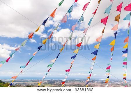 Impressive Landscape From Ta Cu Mountain, Binh Thuan Province, Vietnam. Sacral Flag Decoration.