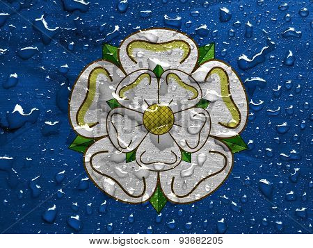 flag of Yorkshire with rain drops