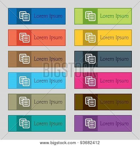 Copy Icon Sign. Set Of Twelve Rectangular, Colorful, Beautiful, High-quality Buttons For The Site. V