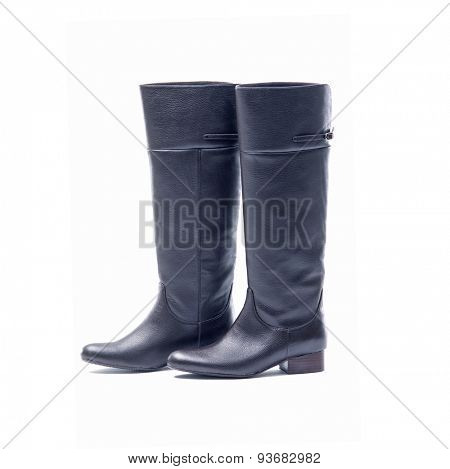 Black, Female high boots on white background
