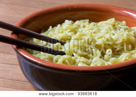 Chinese Noodle Soup In A Ceramic Bowl