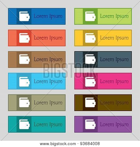 Purse Icon Sign. Set Of Twelve Rectangular, Colorful, Beautiful, High-quality Buttons For The Site.