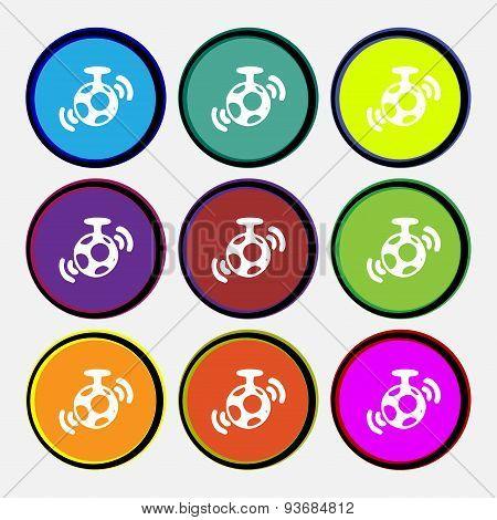 Mirror Ball Disco Icon Sign. Nine Multi Colored Round Buttons. Vector