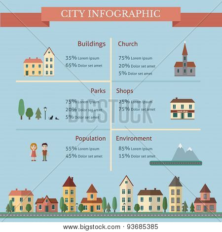 City infographic with street and houses.