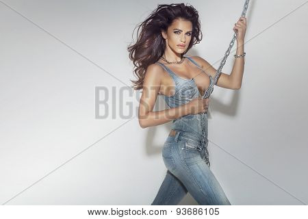 Sexy Brunette Lady In Jeans