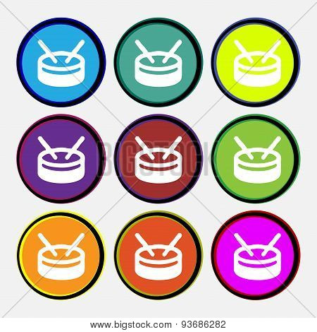 Drum Icon Sign. Nine Multi Colored Round Buttons. Vector