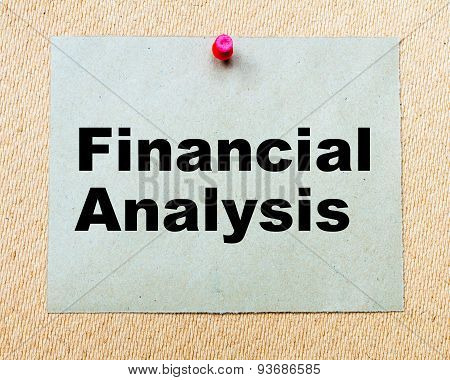 Financial Analysis  Written On Paper Note