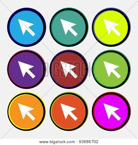 Arrow Cursor, Computer Mouse Icon Sign. Nine Multi Colored Round Buttons. Vector