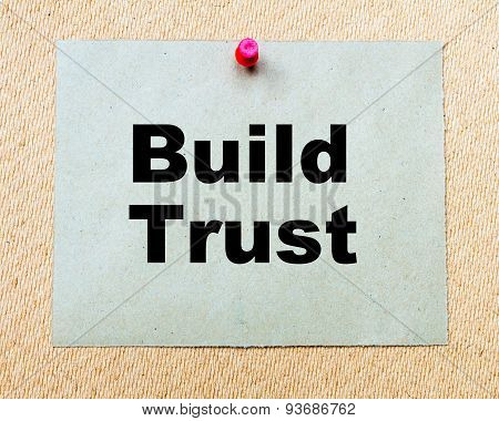 Build Trust Written On Paper Note