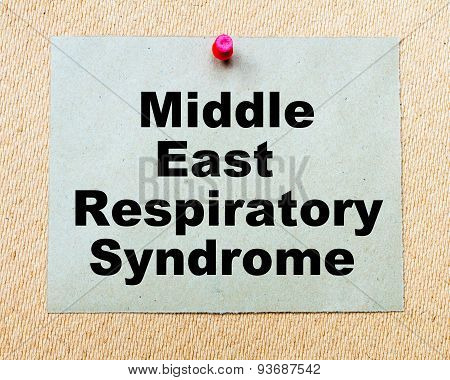 Middle East Respiratory Syndrome Written On Paper Note