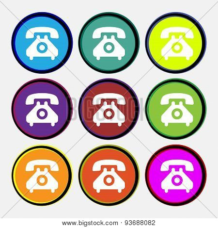 Retro Telephone Handset  Icon Sign. Nine Multi Colored Round Buttons. Vector