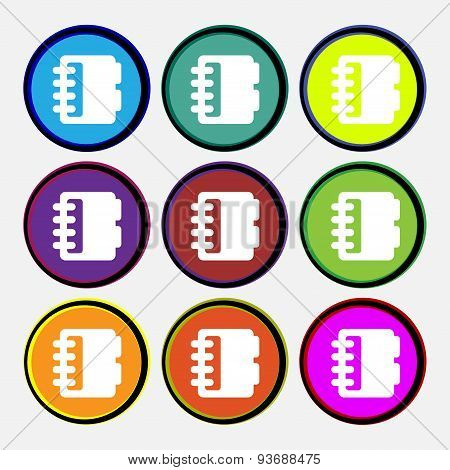 Notepad, Calendar Icon Sign. Nine Multi Colored Round Buttons. Vector