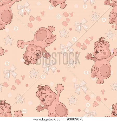 Pattern With Teddy Bear And Bow. Vector.eps