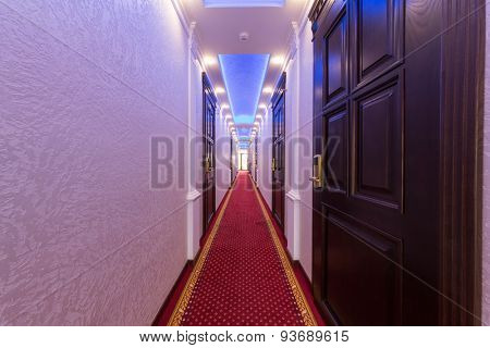 ADLER, RUSSIA - JULY 22, 2014: hotel corridor with many doors and carpet in Shine House hotel