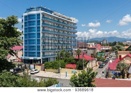 ADLER, RUSSIA - JULY 22, 2014: view of the city, mountains and El Paraiso hotel