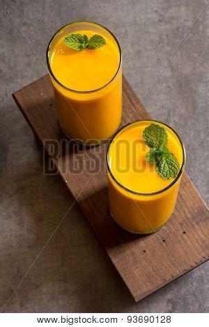 Mango smoothie Overhead View