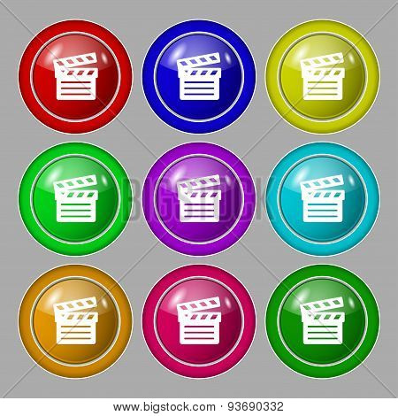 Cinema Clapper Icon Sign. Symbol On Nine Round Colourful Buttons. Vector