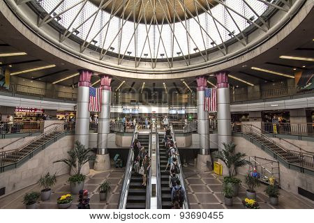 Interior Of South Station Bus Terminal In Boston