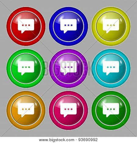 Cloud Of Thoughts Icon Sign. Symbol On Nine Round Colourful Buttons. Vector