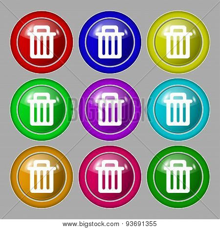 Recycle Bin Icon Sign. Symbol On Nine Round Colourful Buttons. Vector