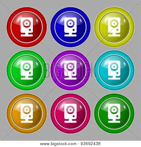 Web Cam Icon Sign. Symbol On Nine Round Colourful Buttons. Vector