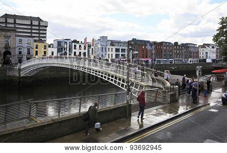 River Liffey and the Ha Penny Bridge in Dublin