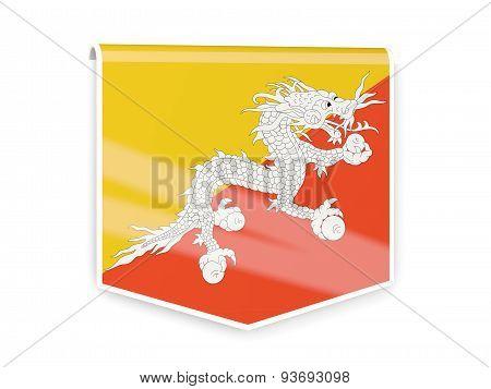 Flag Label Of Bhutan