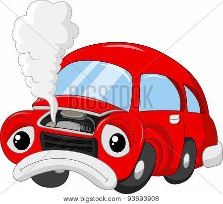 The car cartoon damage so that smoky