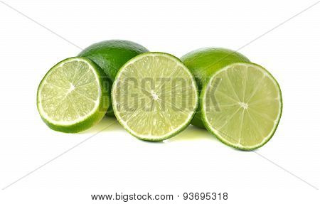 Fresh Green Lime On White Background