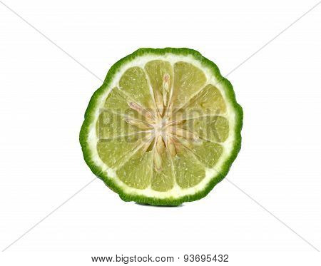 Closeup Half Cut Fresh Bergamot Or Leech Lime On White Background